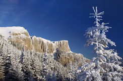 Winter mountain landscape. Winter mountain scene in Romanian Carpathians Stock Photos