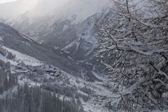 Winter mountain landscape in the Alps Stock Photo