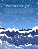 Winter mountain landscape background. Mountaineering or travelling concept. Climbing, hiking, trekking, outdoor vacation or extreme sports background. Winter Royalty Free Stock Images