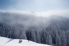 Winter mountain landscape with blue sky Stock Images