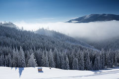 Winter mountain landscape with blue sky Royalty Free Stock Photo