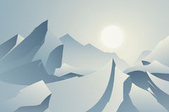 Winter Mountain Landscape Card. Cold Sunrise / Sunset On Vector Royalty Free Stock Photography