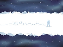 Winter mountain landscape card with snowboarder. Vector illustration Stock Images