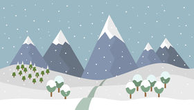 Winter mountain landscape. Cartoon snowy winter mountain landscape with falling snow and trees and path into the mountains -  illustration Royalty Free Stock Images
