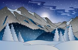 Winter mountain landscape. Eps10 vector illustration Royalty Free Stock Images