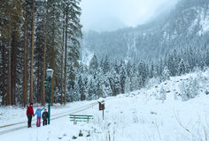 Winter mountain landscape and family (Austria). Stock Photo