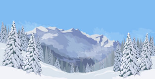 Winter mountain landscape fir snow vacation background blue sky vector. Winter mountain landscape with blue sky snowy spruce cold expanses vector illustration Stock Images