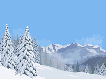 Winter mountain landscape fir snow vacation vacations background blue sky Royalty Free Stock Photography