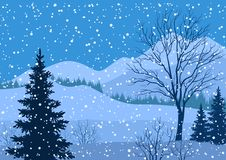 Winter mountain landscape with fir trees. Winter mountain Christmas landscape with fir trees silhouette and snowflakes. Vector Stock Photo