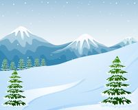 Winter mountain landscape with fir trees. Illustration of Winter mountain landscape with fir trees Stock Photos