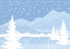Winter mountain landscape with fir trees. And snow, white and blue silhouettes. Vector Stock Photo