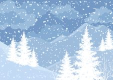 Winter mountain landscape with fir trees. And snow, white and blue silhouettes. Vector Stock Photography