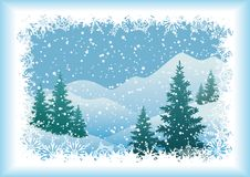 Winter mountain landscape with fir trees. And snowflakes. Vector Royalty Free Stock Image