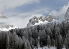 Winter mountain landscape. Italian Dolomites under snow Royalty Free Stock Image