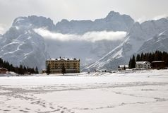 Winter mountain landscape. Italian Dolomites under snow Stock Photo
