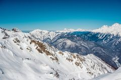 Winter mountain landscape. Krasnaya Polyana, Sochi, Russia Royalty Free Stock Images