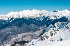 Winter mountain landscape. Krasnaya Polyana, Sochi, Russia Stock Photo
