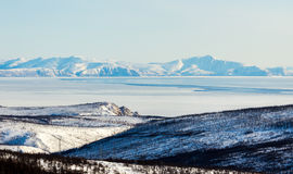 Winter mountain landscape, Magadan. Winter mountain landscape, the Sea of Okhotsk, Magadan, Russia Stock Images