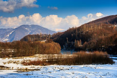 Winter mountain landscape near the village Stock Photo