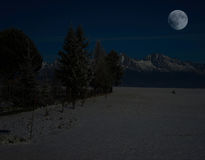 Winter mountain  landscape at night Stock Photography