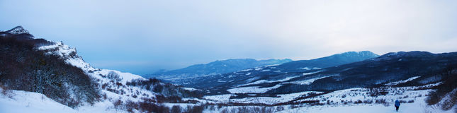 Winter mountain landscape. Panorama Royalty Free Stock Photography