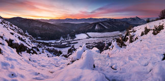 Winter mountain landscape panorama before sunrise Stock Image
