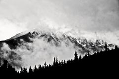 Winter mountain landscape, Polish Tatra mountains. Black and white picture royalty free stock photography
