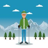 Winter mountain landscape poster with scaler guy with equipment. Vector illustration Stock Images