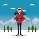 Winter mountain landscape poster with scaler man with equipment. Vector illustration Royalty Free Stock Images