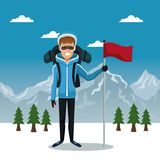 Winter mountain landscape poster with skier man with equipment and flag. Vector illustration Stock Photo