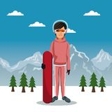 Winter mountain landscape poster with skiere woman with equipment and sky table. Vector illustration Royalty Free Stock Photo