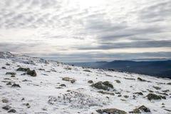 Winter mountain landscape scene. Snowed mountain landscape Royalty Free Stock Image