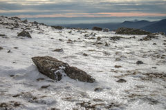 Winter mountain landscape scene. Snowed mountain surface at winter landscape Stock Image
