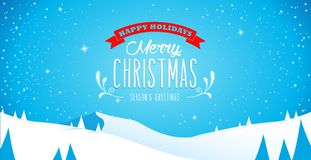 Winter mountain landscape scenery, Merry Christmas text Royalty Free Stock Image