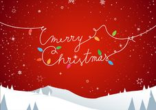 Winter mountain landscape scenery, Merry Christmas text Stock Images
