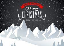 Winter mountain landscape scenery, Merry Christmas text Royalty Free Stock Photos