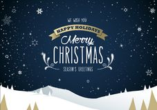 Winter mountain landscape scenery, Merry Christmas text Stock Photos