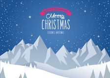 Winter mountain landscape scenery and Merry Christmas Royalty Free Stock Image