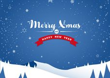 Winter mountain landscape scenery and Merry Xmas text Stock Image