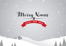 Winter mountain landscape scenery and Merry Xmas Royalty Free Stock Photo
