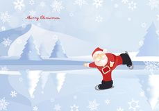 Winter mountain landscape scenery with Santa Claus Stock Photos