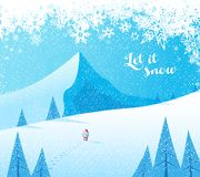 Winter mountain landscape scenery with Santa Claus Royalty Free Stock Images