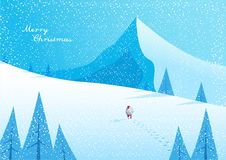 Winter mountain landscape scenery, walking Santa Claus Royalty Free Stock Images