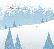 Winter mountain landscape scenery, walking Santa Claus Royalty Free Stock Photo