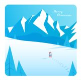 Winter mountain landscape scenery, walking Santa Claus Royalty Free Stock Photos