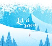 Winter mountain landscape scenery, walking Santa Claus Stock Photos