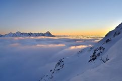 Winter mountain landscape with sea of clouds. Stock Image