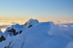 Winter mountain landscape with sea of clouds. Royalty Free Stock Photo