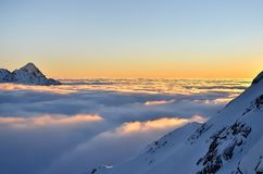 Winter mountain landscape with sea of clouds. Royalty Free Stock Image