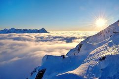Winter mountain landscape with sea of clouds. Stock Photography